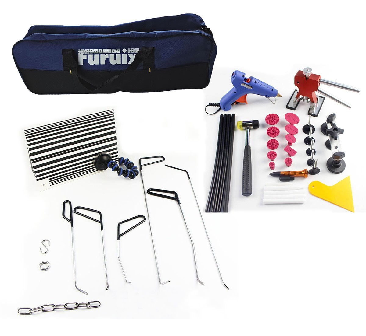 Furuix Auto Parts Repair Set Paintless Dent Repair Tools Dent Removal Hand tools Rods Car Dent Puller Auto Body Tools (352-CB-1)