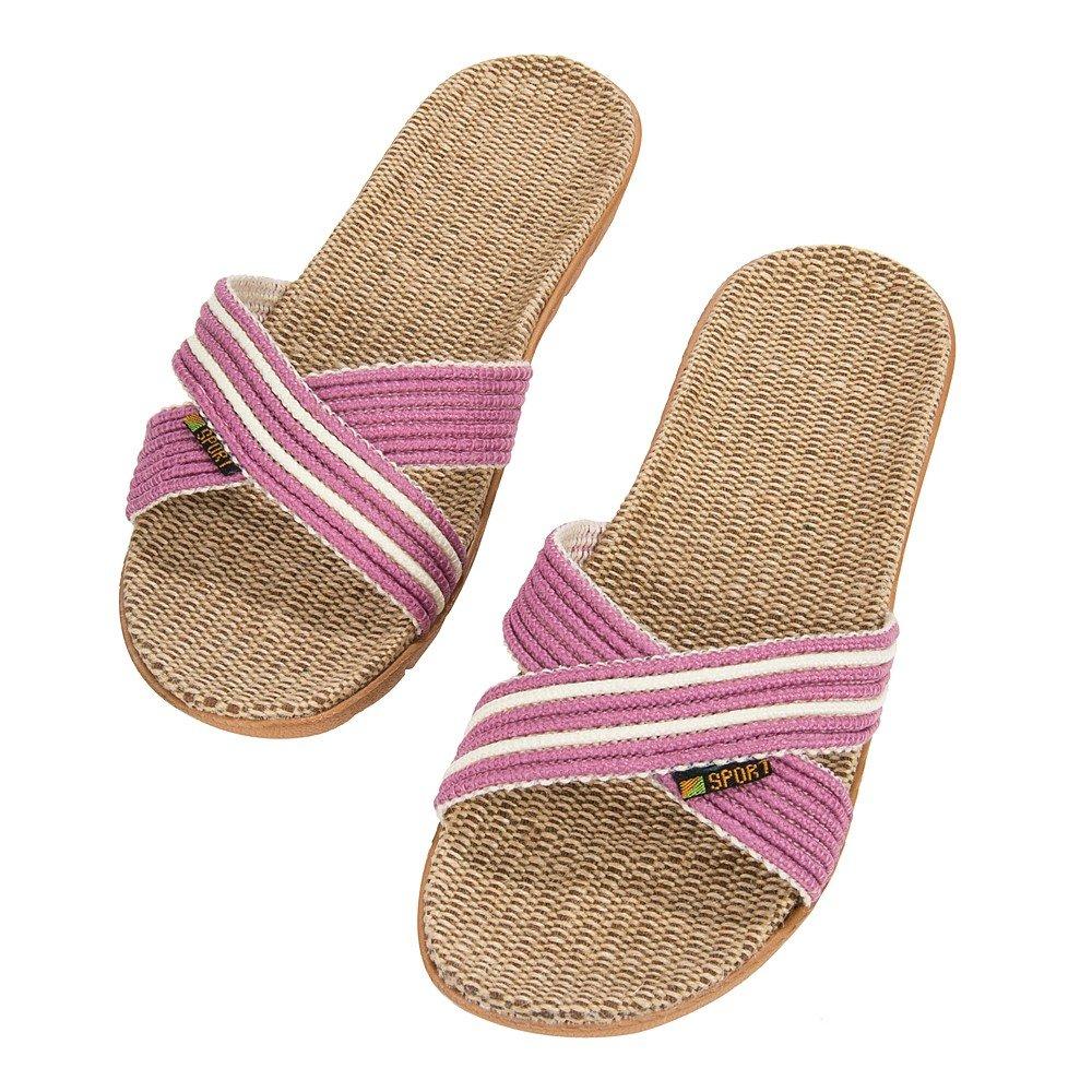 eBigValue Comfortable Womens Voca Slide Slip On Soft Weave Texture Straw Pool Mauve Slippers Sandals