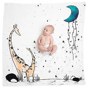 JumpOff Jo Baby Milestone Blanket, Giraffe & a Calf