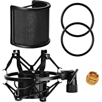 AT2020 Microphone Shock Mount with Pop Filter, PEMOTech Universal Shock Mount for 46mm-53mm Diameter Mic compatible for…