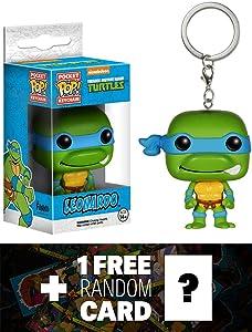 Leonardo: Pocket POP! x TMNT Mini-Figure Keychain + 1 FREE Official classic TMNT Trading Card Bundle [45746]