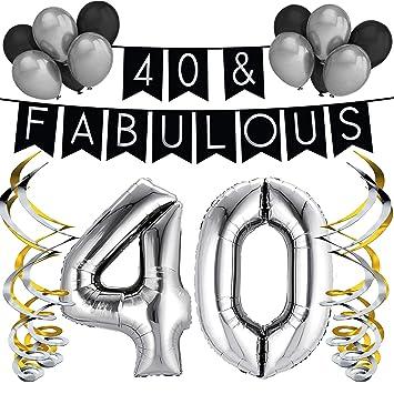 Paquete de fiesta de cumpleaños número, 40 & Fabulous – Paquete de feliz cumpleaños Negro y Plateado, globos y remolinos - Decoraciones de cumpleaños ...