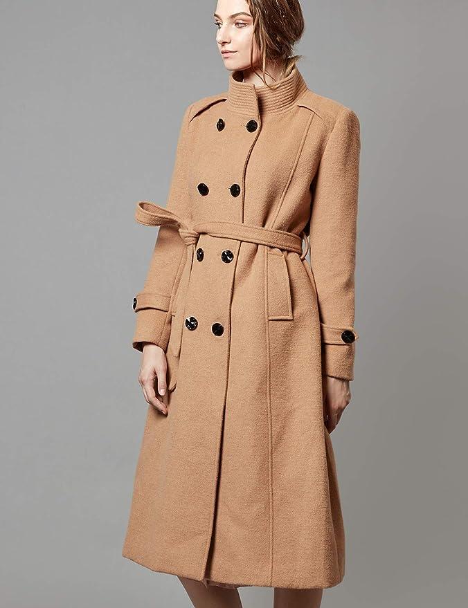 Zweireiher Damen Warm Solid Winter Wolle Escalier Mantel mit QBoerCxWEd