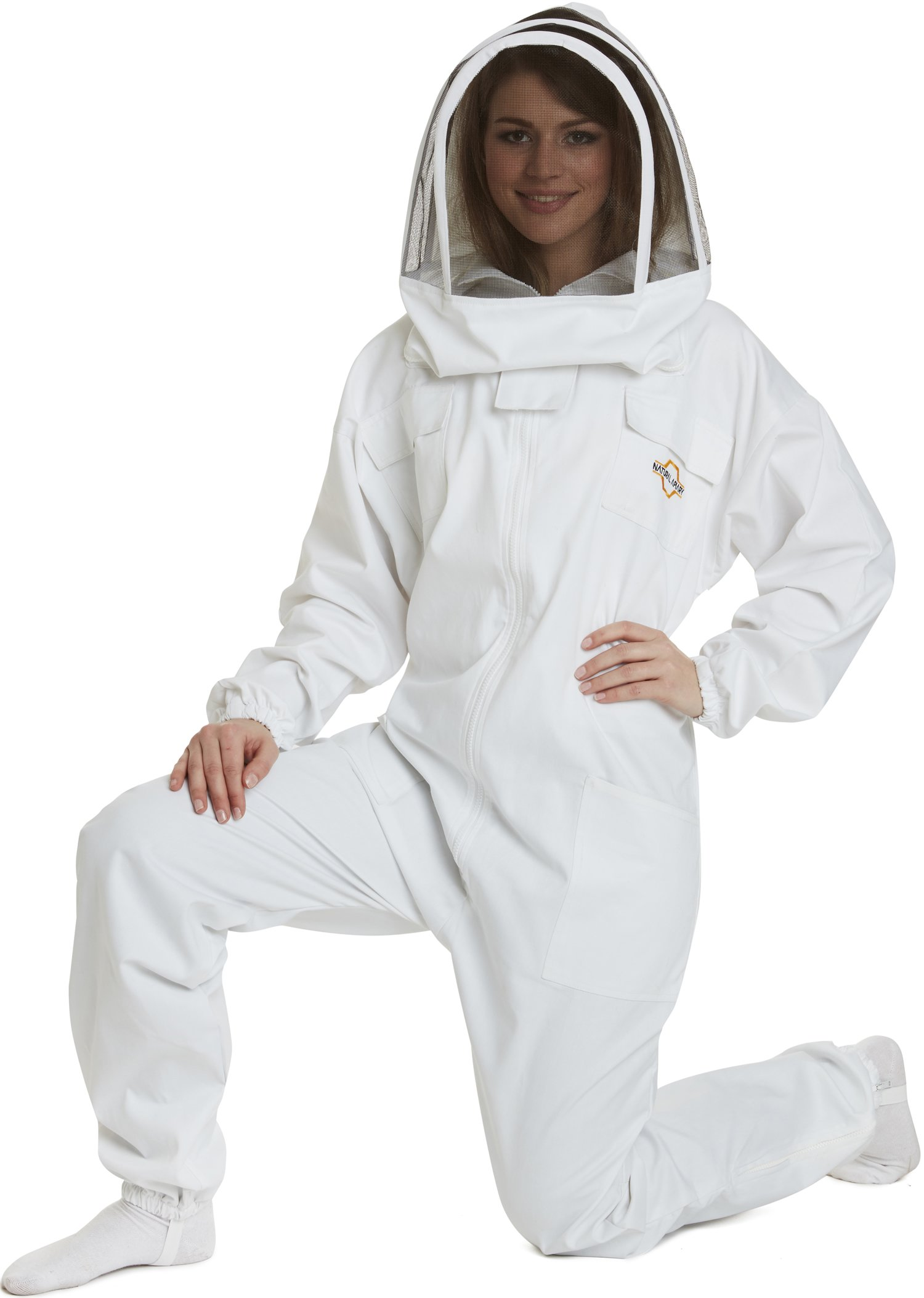 Natural Apiary - Apiarist Beekeeping Suit - (All-in-One) - Fencing Veil - Total Protection for Professional and Beginner Beekeepers - X Large - White by Natural Apiary