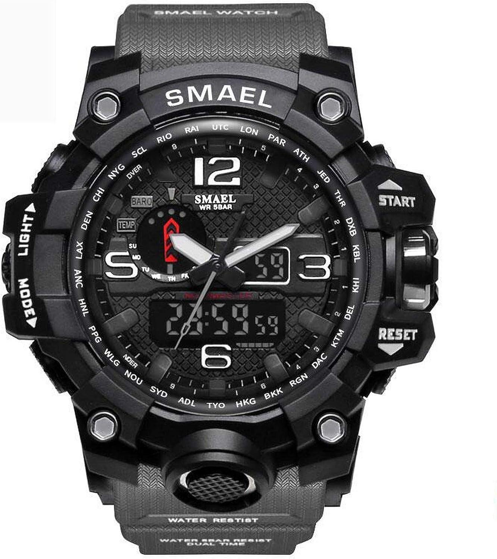 Smael Reloj Militar para Hombre Reloj De Pulsera Impermeable De 50 M Reloj De Cuarzo LED Reloj Deportivo Reloj Deportivo para Hombre