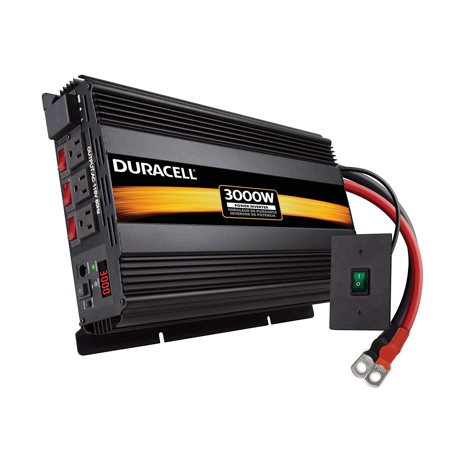 Duracell Power DRINV3000 Black 3000 W High Powered Inverter Renewed