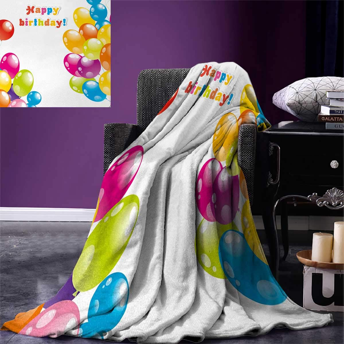 Birthday Digital Printing Blanket Colorful Festive Mood Flying Party Balloons in Surprise Happy Occasion Set Up Summer Quilt Comforter 80''x60'' Multicolor