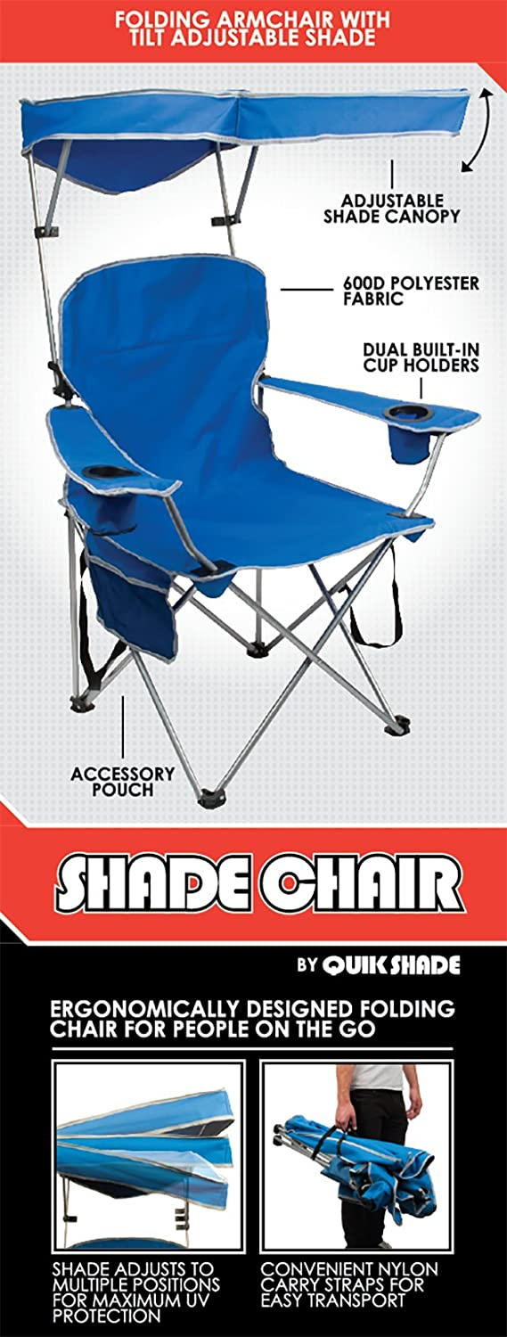 Amazon.com  Quik Shade Adjustable Canopy Folding C& Chair - Royal Blue  Folding Sports Chairs  Sports u0026 Outdoors  sc 1 st  Amazon.com & Amazon.com : Quik Shade Adjustable Canopy Folding Camp Chair ...