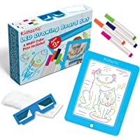 Kidtastic LED Drawing Board with 3D Glasses – Glow in The Dark, No Mess, Learning Tablet – Light Up Neon Magic Tracing…