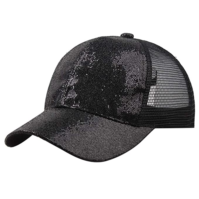 0b78f980a938 Sport Hats for Women,Women Girl Ponytail Baseball Cap Sequins Shiny Messy  Bun Snapback Hat