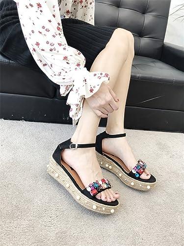 MeiMei Koreanische Version Des Flachen Gurt Dick mit Sandalen Weiblichen Sommer und Vielseitige Schwarz 0jM2tk
