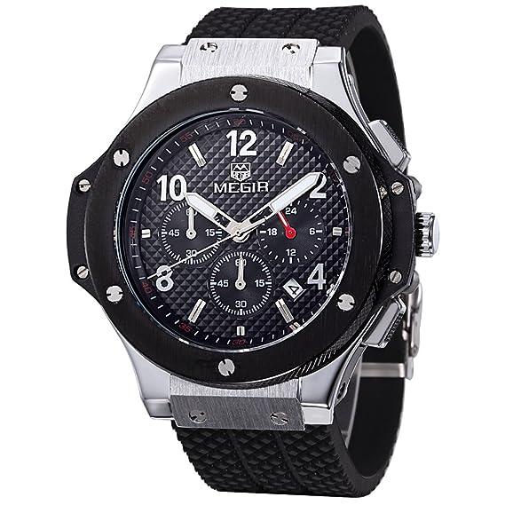 MEGIR Relojes Original Hombre Grande de cuarzo, negro silicona banda, cronógrafo y resistente al agua: Amazon.es: Relojes