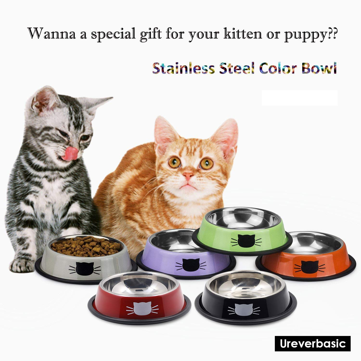 Ureverbasic Cat Bowls Stainless Steel Dog Bowl 8oz for Small Pets Puppy Kitten Rabbit Non-Skid Cat Food Bowls Easy to Clean Durable Cat Dish for Food and Water by Ureverbasic (Image #8)