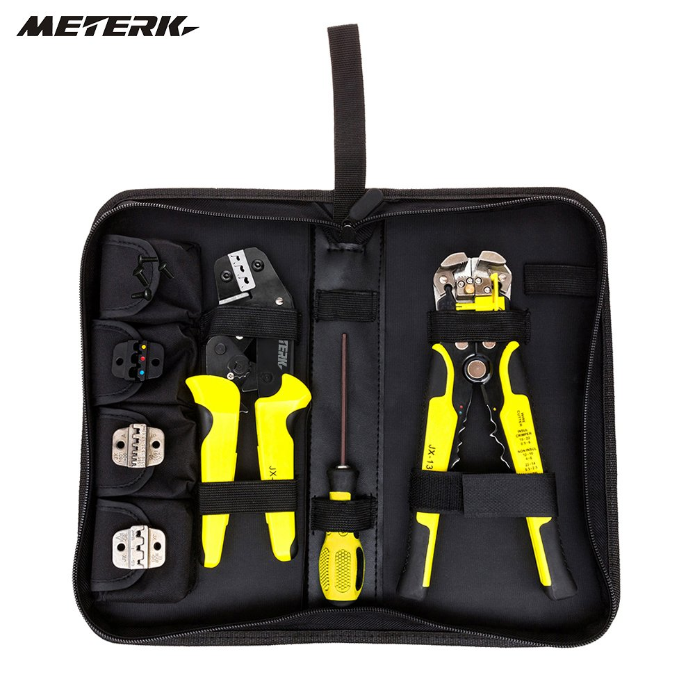 Multi tools Wire Crimper hand Tools Kit Engineering Ratchet Terminal Crimping Plier Wire Crimper + Wire Stripper+S2 Screwdiver by ZOOPL