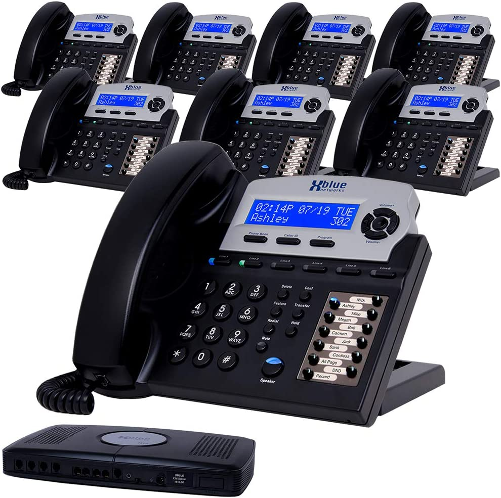XBLUE X16 Small Business Phone System Bundle with (8) Phones - (6) Outside Line & (16) Phone Capacity - Includes Auto Attendant, Voicemail, Caller ID, Paging & Intercom
