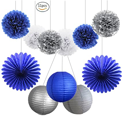 HEARTFEEL 11pcs Navy Blue Silver White Tissue Pom Poms Paper Lanterns Fans Kit For Baby