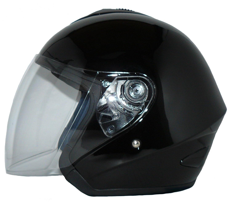 Protectwear Casco de cara abierta V510 Casco de moto con visera brillante negro - S FBA-V510-SW