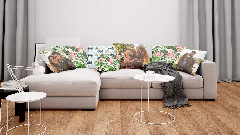 Personnalisable avec la Photo ou Le Texte de Votre Choix oreillers hypoallerg/éniques Cadre Noir avec 3 Photo et Texte Fullprint 091 Coussin avec Photo personnalis/é 45x45
