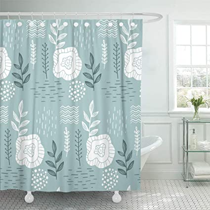 Emvency Shower Curtain Green Abstract Floral Pattern Scandinavian Design Style On Gray White Beautiful Curtains