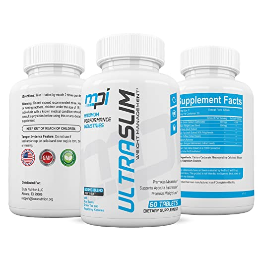 UltraSlim Fat Loss Pills that work for Men and Women (60 Tablets) – Clean, Natural Appetite Suppressant – Supports Healthy Fat Burning & Energy – Encourages Metabolism Increase