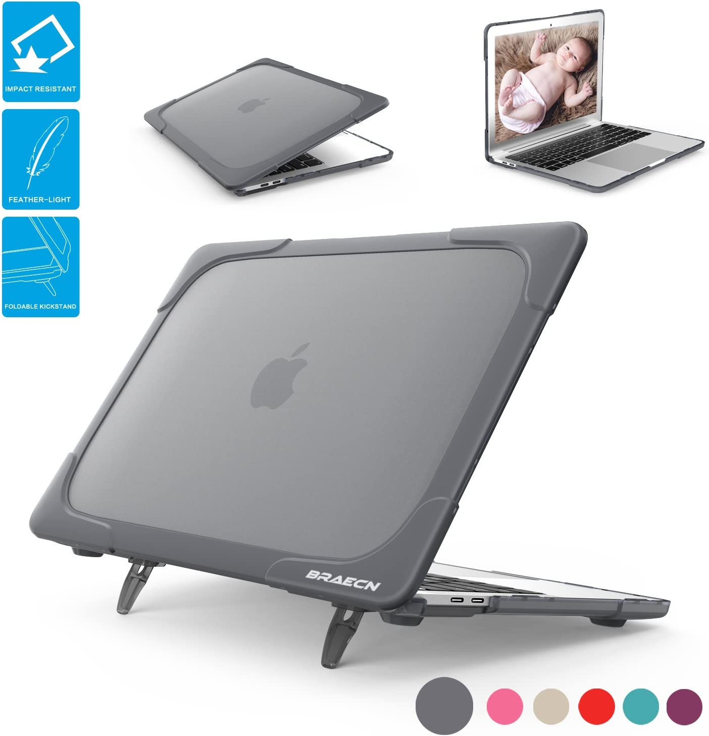 BRAECNstock for Macbook 12 Inch Case [Heavy Duty] Slim Rubberized [Dual Layer] Hard Case Cove with Foldable Kickstand for Retina 12 inch Display Model A1534 (Newest Version 2017/2016/2015)-Gray