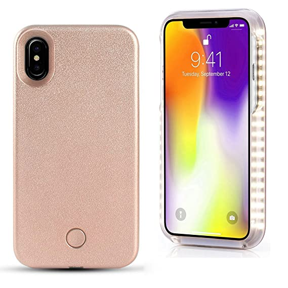 newest e9223 1ddfb Spruce Selfie LED Light Case for iPhone 6/6s/6p/7 Cover with Rechargeable  Backup (Rose Gold, X)