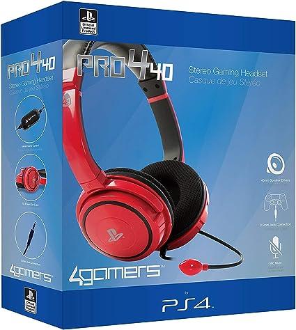 4Gamers - Pro 4-10 Auricular Estéreo Licenciado, 40Mm De Diámetro, Micrófono Flexible, Rojo (PS4): Amazon.es: Videojuegos
