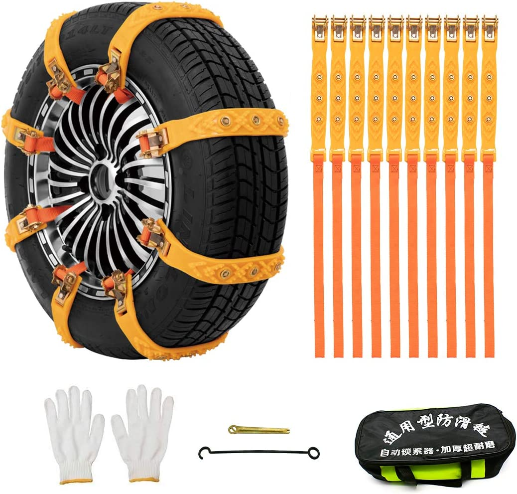 DATOUBOSS Snow Chains 10pcs Anti-Skid Chains Thickness 8mm Tire Chains for Cars/SUV/Truck Adjustable Traction Tire Chains for Width 145mm-275mm (5.71-10.83 inch)