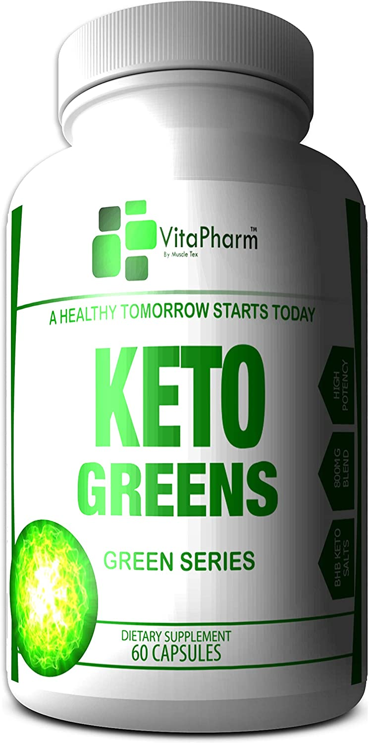 Keto Greens by VitaPharm Nutrition | 800mg Keto BHB Supplement for Women and Men. Fast Acting Ketosis. Diet Carb Blocker. Diet Supplement Pills | Extra Strength Ketogenic Accelerator