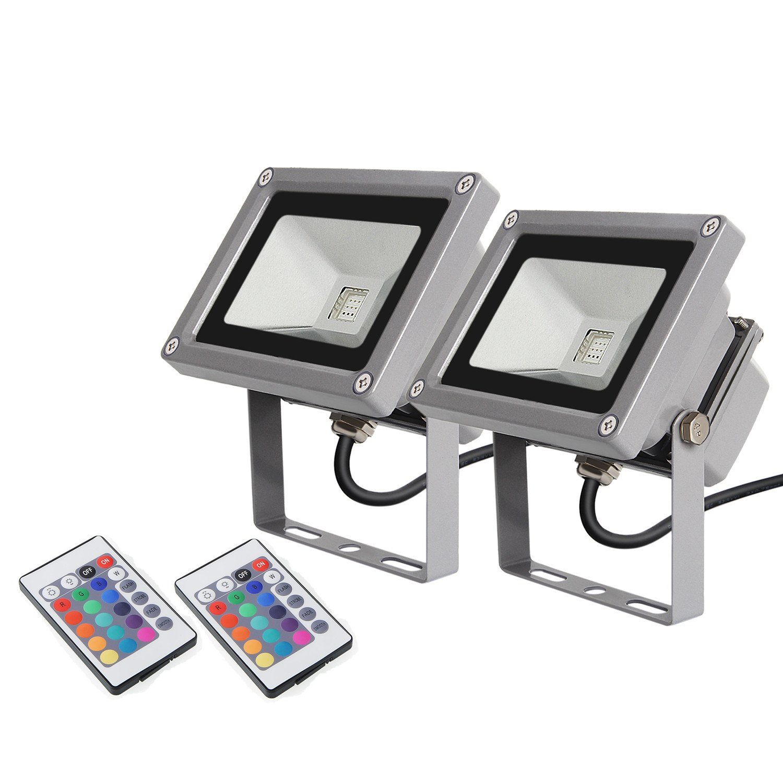 2 × amzdeal LED RGB 16 Farben Fluter Außen Strahler Scheinwerfer - mit Memory Funktion & Fernbedienung - 10W