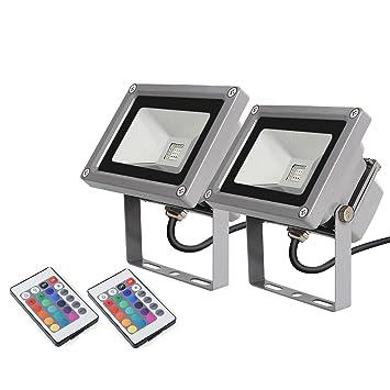 2 × amzdeal LED RGB 16 Farben Fluter Außen Strahler Scheinwerfer ...