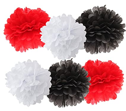 Amazon 12pcs white black red mixed color tissue paper pom poms 12pcs white black red mixed color tissue paper pom poms tissue pom pom paper flower ball mightylinksfo