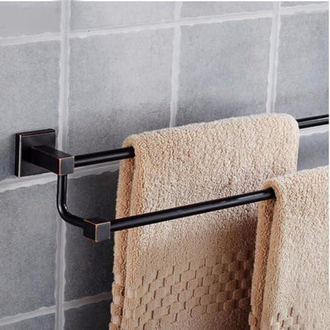 Sursy Bronce europeo negro toalla de baño Toalla de varilla cuadrada bipolar monopolar baño minimalista accesorios de hardware: Amazon.es: Hogar