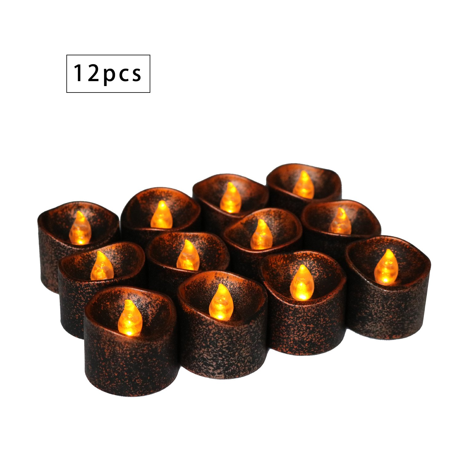 12 Pack Black Flameless Candles Led Tea Light Flickering Amber Battery Operated Tea Lights Novelty Candle for Wedding Centerpiece Tiny Pillar Vintage Electric Votives Long Burn Christmas Thanksgiving Youngerbaby