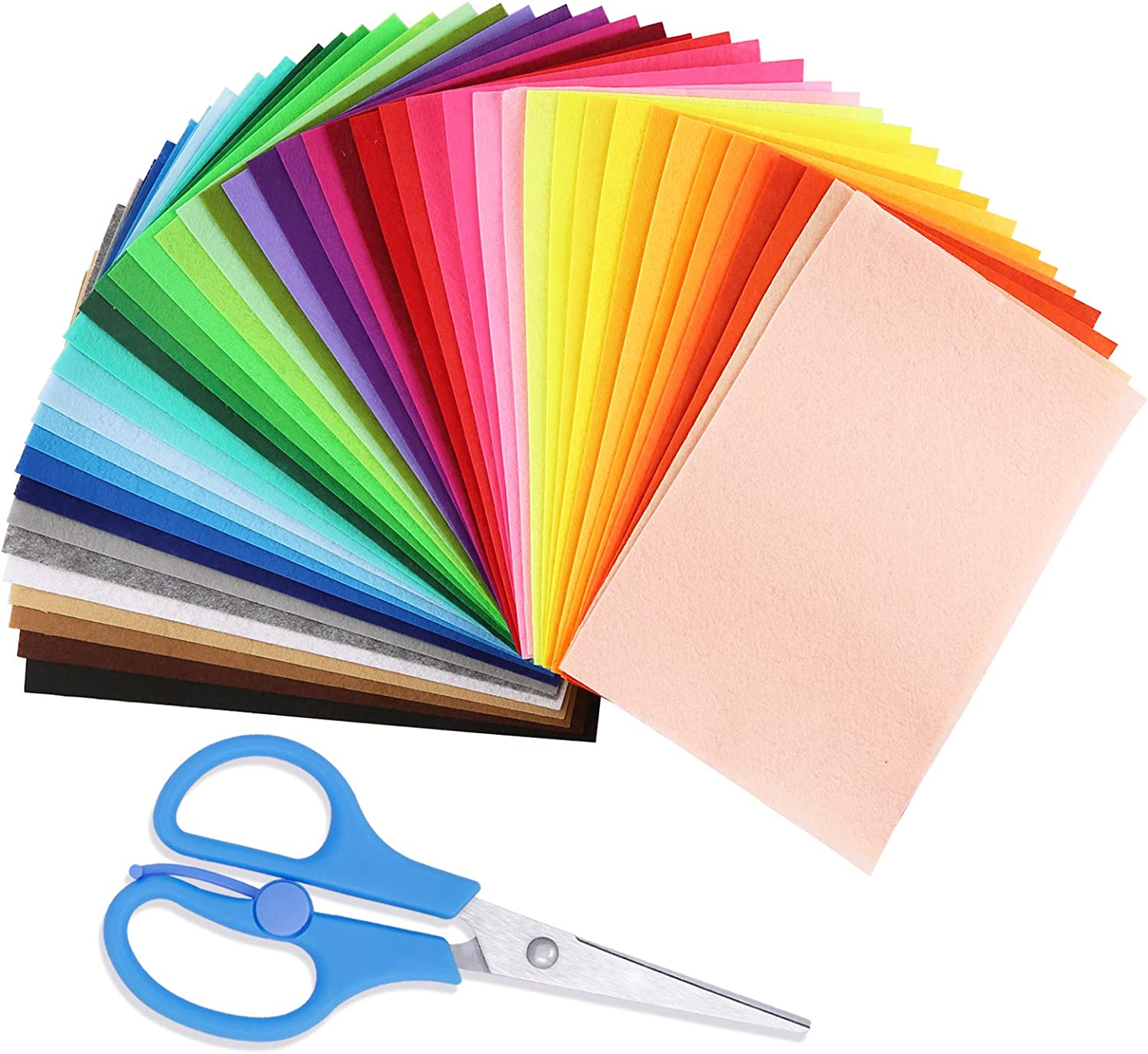 45Pcs Felt Fabric Sheet Assorted Color Felt Fabric Sheets (7.8in x 11.8in) Assorted Colors Felt Pack with Scissors for DIY Crafts, Sewing, School Projects, Decoration, Crafting Projects