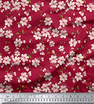 White Silk Cotton Blend Fabric With Small Floral Print Fabric By The Yard Width 55 inch