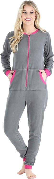 Sleepyheads entre las mujeres adultas no de patas paño grueso y suave de color Onesie pijama Mono