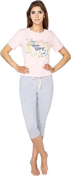 Schlafanzug Pyjama Pijama Kurzarm Leggins Capri Set Hausanzug Standartgröße