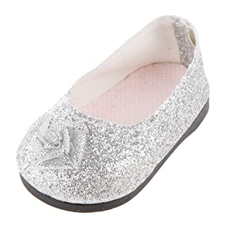 Beautiful Silver Small Flower Flats Shoes for American Girl Doll Clothes Generic