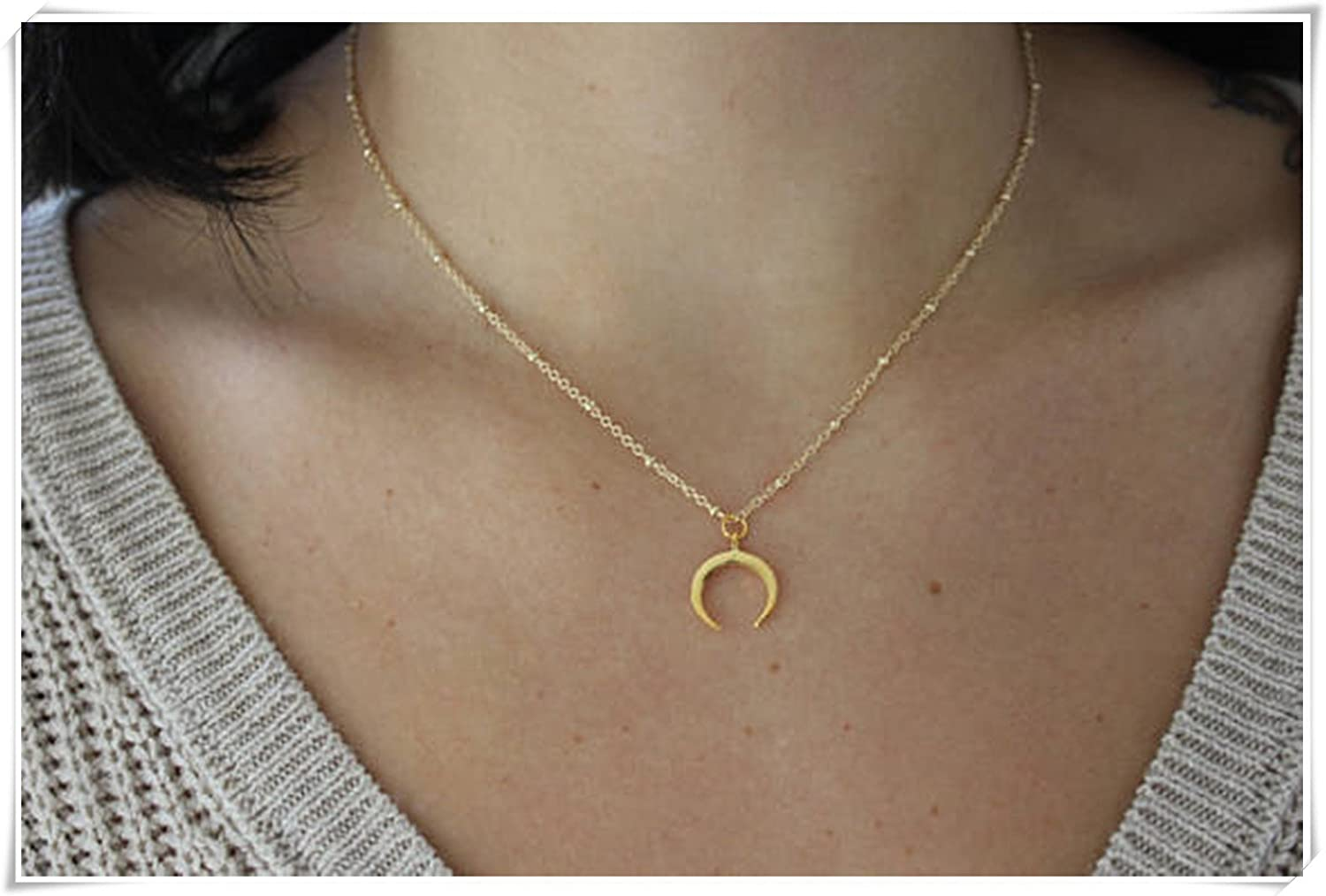 Satellite Chain Necklace, Horn Necklace, Crescent Moon Necklace, Dainty Jewelry Moon Necklace. Elf small House