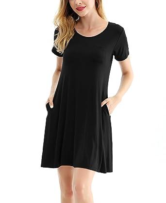 53c3de9c8d5 ROOSEY Women's Summer Short Sleeve Tunic Top Swing T-Shirt Loose Dress with  Pockets Black