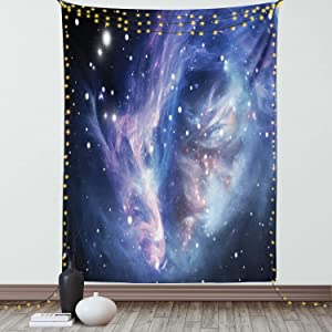 Ambesonne Outer Space Tapestry, Mysterious Nebula Gas Cloud in Deep Ouuter Space with Cluster Universe Solar, Wall Hanging for Bedroom Living Room Dorm Decor, 40