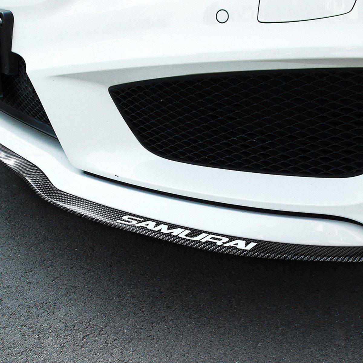 COOL·CAR Car Universal Lip Kit Front carbon fibe Soft rubber Bumper Chin Spoiler Splitter Side Skirt Roof Spoiler(2.5 meters,carbon fiber)