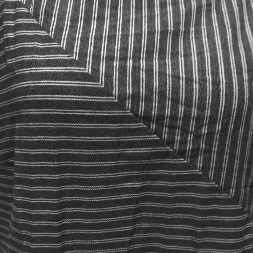 Frauen Beil/äufiges Gestreiftes /Ärmelloses Kleid Mit Rundhalsausschnitt Leinen Langes Kleid L/ässiges /Ärmelloses Kleid Aus Baumwolle Und Leinen Mit Rundem Ausschnitt Locker Gestreiftes