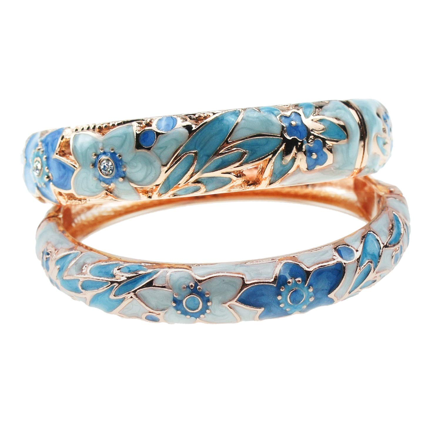 UJOY Vintage Jewelry Cloisonne Handcrafted Enameled Gorgeous Rhinestone Gold Hinged Cuff Bracelet Bangles Gifts 88A12