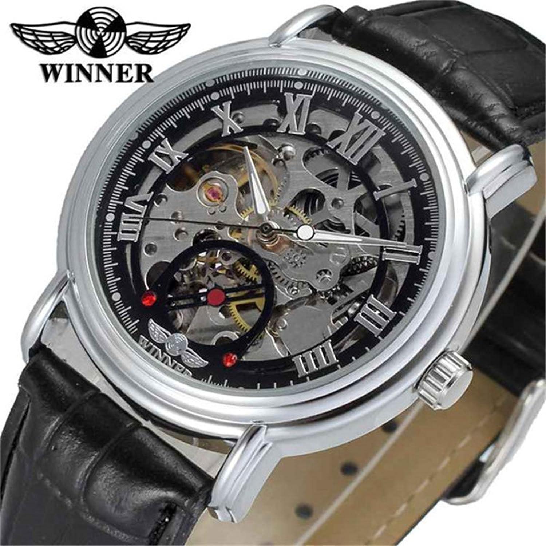 Luxury goldenメンズ自動機械腕時計ローマ数スケルトンダイヤルブラックレザーバンド ブラック B078JTXJQPブラック