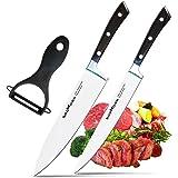 Coltello da cuoco Godmorn Coltello da Cucina 3 pcs Acciaio inossidabile tedesco da 8 pollici coltello da cucina + coltello utensile da 8 pollici + sbucciatore