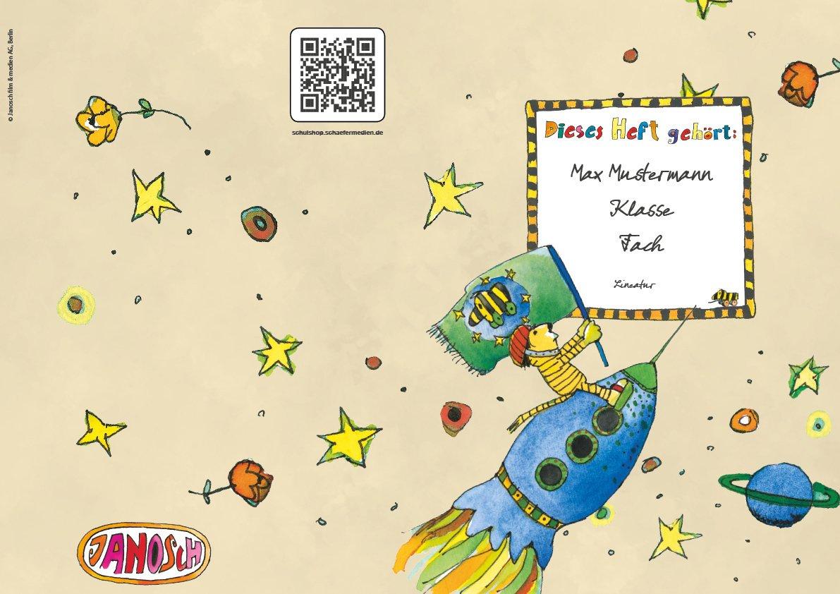 24 lustige JANOSCH-Schulhefte A4, »Tigonaut«, Lineatur 28, Pistaziengelb, personalisierbar, 32 Seiten B077SHF6TB | Ausgewählte Materialien  | Spielzeugwelt, glücklich und grenzenlos  | Heißer Verkauf