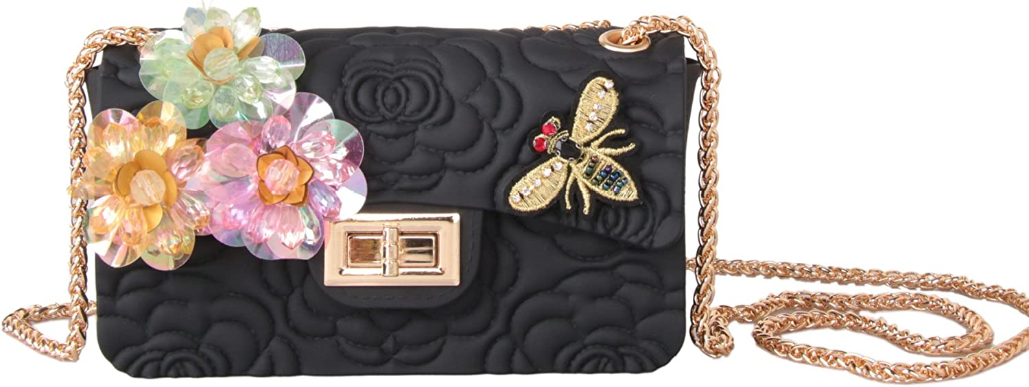 FYios Crossbody Bag Crossbody Bag Jelly Matte Embossed Silicone bangalor Stereo Flower Chain Bag