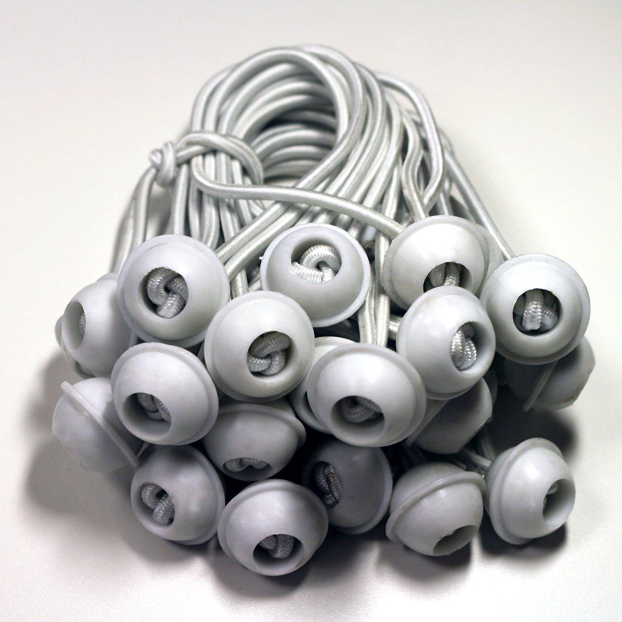 100 Stück Set Gummischlaufen Spanngummis zum Befestigen von Planen - Zeltgummis Expanderschlingen Bungees Spanner Planenspanner für Partyzelt Pavillon Zelt - weiß, lang